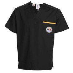 NFL Pittsburgh Steelers Scrub Dudz Solid Scrub Top, Unisex, Medium, Black