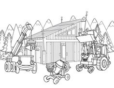 Transportations in construction coloring pages for kids, printable free - Bob the builder Lego Movie Coloring Pages, Snowman Coloring Pages, Princess Coloring Pages, Truck Coloring Pages, Cartoon Coloring Pages, Printable Coloring Pages, Coloring Pages For Kids, Coloring Sheets, Coloring Books