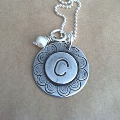 Initial Necklace. Stamped jewelry set