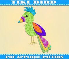Hey, diesen tollen Etsy-Artikel fand ich bei https://www.etsy.com/de/listing/162960277/bird-applique-pattern-template-tiki-pdf