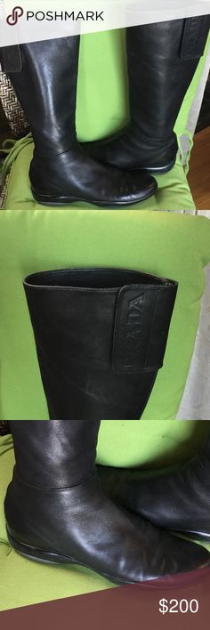 Prada combat boots size 11 black leather Prada women combat boots in preowned condition some scuffs on toe area other then that perfect Prada Shoes Combat & Moto Boots
