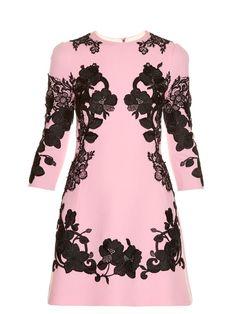 DOLCE & GABBANA Lace-appliqué crepe mini dress. #dolcegabbana #cloth #dress