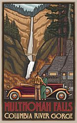 Multnomah Falls with Car Poster (Paul A. Lanquist - PAL) in the Discover Your Northwest Online Store