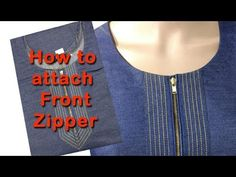 How to attach stylish front zipper DIY hindi tutorial, how to stitch kurti with front zipper Zipper Tutorial, Shirt Tutorial, Diy Tutorial, Dress Neck Designs, Blouse Designs, Churidar Neck Designs, Colar Fashion, Sewing Tutorials, Sewing Hacks