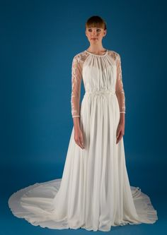 Vintage Lace Appliques Jewel Neck Long A-line Chiffon Wedding Dress