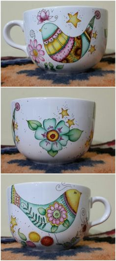Pintado a mano  Facebook/Doñataza Painted Mugs, Painted Plates, Hand Painted Ceramics, Pottery Painting, Ceramic Painting, Ceramic Art, Sharpie Crafts, Sharpie Art, Sharpies