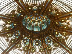 Art Nouveau is an international philosophy and style of art, architecture and applied art especially the decorative arts. Lafayette Paris, Galeries Lafayette, Leaded Glass, Stained Glass, Dome Ceiling, Glass Ceiling, Folies Bergeres, East Of The Sun, Jugendstil Design