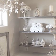DIY master bathroom shelving with a rustic glam feel. Create your own shelving with this simple tutorial! Anyone can do it!