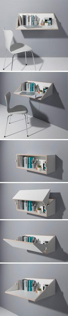 It's a desk, but it's also a shelf… but what is it more of? That's the precise beauty of the Twofold. It can be both a wall-mounted shelf or a desk with such relative ease, it seems simple yet striking. Made completely out of wood, the Twofold reinterprets a traditional wooden connection, turning the product into a hinge itself. Made from plywood with a melamine coating, the Twofold can simply be mounted on any wall.