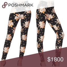 "Floral plus leggings I love a floral print that I can wear throughout the year and these are perfect for that. 27"" inseam, 92% polyester and 8% spandex which means you get the super stretch but there's no fading in the wash! Buttery smooth feel- these are just as pretty in person as they are in the cover photo! Fits 1x/2x so if you pick either size at checkout it does not matter Pants Leggings"