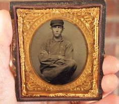 Sixth Plate Tintype of A Man Fireman Soldier Miner Occupational A Half Case | eBay