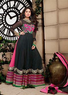 Black Long Anarkali Salwar Kameez In Net . Shop at - http://www.gravity-fashion.com/black-long-anarkali-salwar-kameez-in-net-ae0120.html