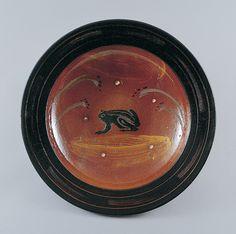 バーナード・リーチ《ガレナ釉彫絵蛙図大皿》1953年