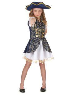 Déguisement pirate bleu foncé fille  : Ce déguisement de pirate pour fille se compose d'une robe blanche avec jupon et manchettes bouffantes en voile transparent. La tenue comprend également une veste bleu foncé...