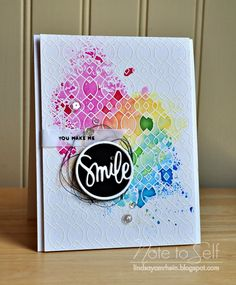 You Make Me Smile #card by Lindsay Amrhein #stamping #technique