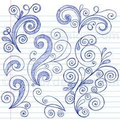 Hand-Drawn Sketchy Notebook Doodle Swirly Design Elements Vector Illustration by Doodle Patterns, Zentangle Patterns, Quilt Patterns, Doodle Designs, Zen Doodle, Doodle Art, Notebook Doodles, Notebook Paper, Illustration Vector