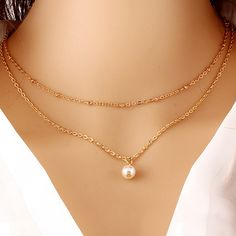 Simulated Pearl Necklace Gold Beads Pendants Women Statement Charm Multilayer Clavicle Chain Choker Fashion Jewelry Accessories-in Pendant Necklaces from Jewelry & Accessories on Aliexpress.com | Alibaba Group