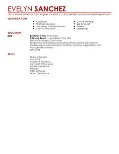 Resume Preview Chronological Resume, Bachelor Of Arts, Strategic Planning, Time Out, Critical Thinking, Priorities, Economics, Flexibility, Leadership