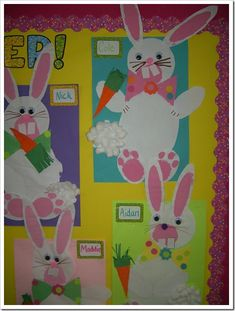 Bunny project from Schoolgirl Style www. Spring Art Projects, Easter Projects, School Art Projects, Spring Crafts, Holiday Crafts, Easter Ideas, Easter Art, Hoppy Easter, Easter Crafts