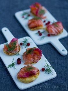 Potato pancakes and lingonberry salmon