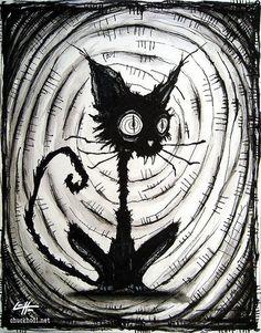Print - Black Cat 3 - Halloween Cats Stray Spooky Alley Dark Art Pets Cute Animal Creepy Gothic Art Black and White Kitty - drawing stuff - Katzen / Cat Gothic Drawings, Creepy Drawings, Creepy Art, Cool Drawings, Arte Horror, Horror Art, Dark Fantasy Art, Dark Art, Dark Gothic Art