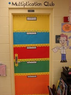 students sign door when they complete multiplication facts