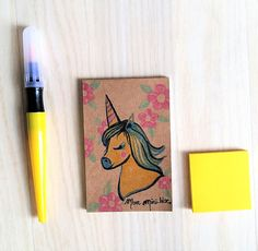 Mini Bloc-notes Illustré fait main licorne