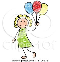 how to draw  stick animals | Clipart Stick Drawing Of A Happy White Girl With Party Balloons ...