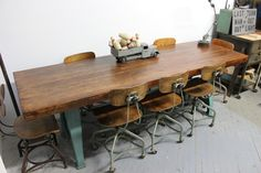 Dorset Finds Store — Heavy Duty 8' Industrial Dining Table w/ Cast Iron Legs