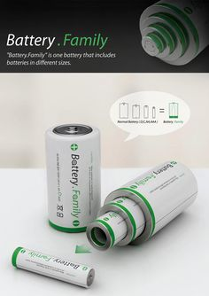 Battery Family - Battery Family is a concept where one big mama battery houses other smaller sizes, making it easy for you to have Size D, Size C, Size AA and Size AAA in one nifty design.interesting concept though. New Gadgets, Gadgets And Gizmos, Cool Technology, Technology Gadgets, Arduino, Inspector Gadget, Take My Money, Battery Sizes, Iphone 4