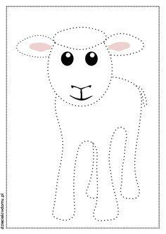 baranek - połącz kropki - karta pracy dla dzieci / lamb coloring page for kids Sunday School Crafts, Pencil Drawings, Memories, Embroidery, Learning, Graphic Design, Child, Easter, Memoirs