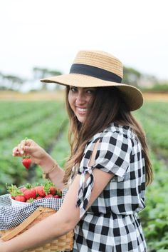Strawberry Picking in Gingham and Hunters -- Young Cosmopolite