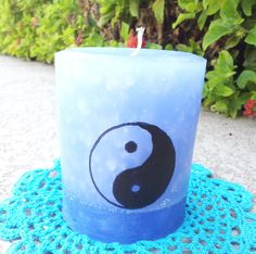Hey, I found this really awesome Etsy listing at https://www.etsy.com/listing/199504705/hippie-boho-blue-pillar-candle-yin-yang Yin yang Chinese philosophy boho hippie gypsy candle