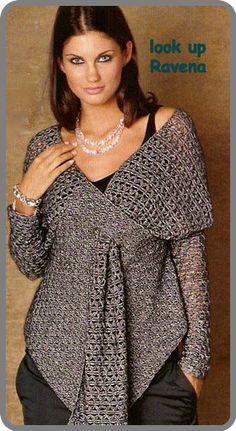 Crochet Blusas Design Beautiful sweater - wonder if I could sew a cloth version? Gilet Crochet, Crochet Jacket, Crochet Shawl, Love Crochet, Knit Crochet, Knitting Patterns, Crochet Patterns, Knitted Cape, Crochet Clothes