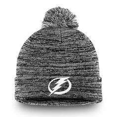 fad9a286a6043 Men s Tampa Bay Lightning Fanatics Branded Black Black and White Cuffed  Knit Hat with Pom