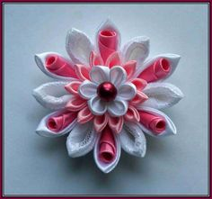 Pink and white curly cupcake kanzashi flower hair by NordaBrilo, €9.00