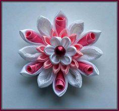 kanzashi flower, cupcak kanzashi, flower hair