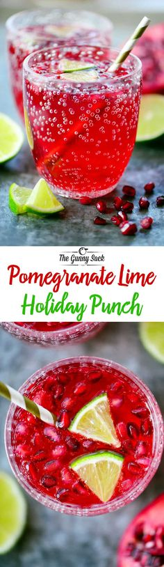 Sparkling Pomegranate Lime Holiday Punch is a pretty family-friendly drink that's perfect for holiday celebrations & parties from Thanksgiving to Christmas! #mocktail #pomegranate #beverages #nonalcoholic