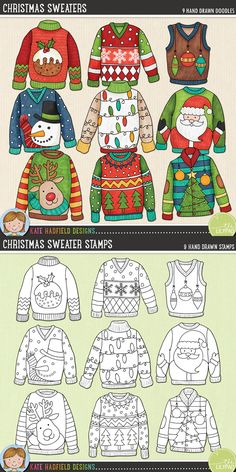 Ugly Christmas Sweaters digital scrapbooking elements   Cute Christmas jumpers clip art   Hand-drawn doodles for digital scrapbooking, crafting and teaching resources from Kate Hadfield Designs!
