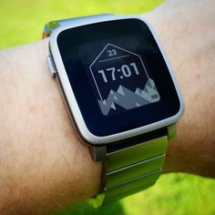 """""""Hex Mountains"""" #Watchface by @johnreno on #PebbleTimeSteel #pebble #smartwatch #pebbletime #watchfaces Pebble Smartwatch Watchfaces"""