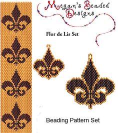 Flor de Lis Beading Pattern Set - Peyote or Brick Bracelet Earrings and Pendant on Etsy Peyote Patterns, Loom Patterns, Bracelet Patterns, Beading Patterns, Embroidery Patterns, Beading Projects, Beading Tutorials, Seed Bead Jewelry, Beaded Jewelry