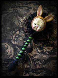 Halloween Rabbit Folk Art Shaker