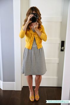 Old Navy striped jersey dress w/ yellow sweater (Sunny Side Up) Mustard Cardigan Outfit, Yellow Cardigan Outfits, Striped Dress Outfit, Mustard Yellow Cardigan, Navy Dress Outfits, Black White Striped Dress, Summer Dress Outfits, Dress With Cardigan, Fall Outfits