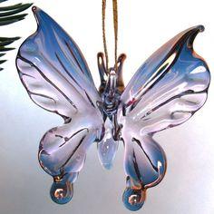 Butterfly Figurine Blown Glass Christmas Tree Ornament Suncatcher. $54.00, via Etsy.