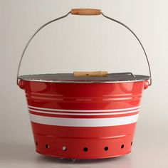 Just got this from world market for our camper. To cute ! Love it! Red and White Striped Galvanized Steel Bucket Grill