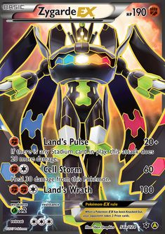[F] Land's Pulse: damage. If there is any Stadium card in play, this attack does 20 more damage. [F][C] Cell Storm: 60 damage. Heal 30 damage from this Pokémon. [F][F][C] Land's Wrath: 100 damage. Pokemon Legal, O Pokemon, Pokemon Fusion, Pokemon Memes, Pikachu, Fake Pokemon Cards, Pokemon Cards Legendary, Evoluções Eevee, Equipe Pokemon