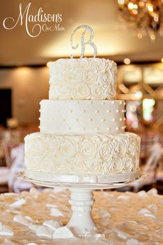 Betsey and Jeremy's ivory buttercream wedding cake!