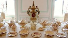 """Russia Peterhof - Wedgwood table set Peterhof, (Russian: Петергоф, Petergof, originally Piterhof, Dutch: """"Peter's Court"""") is a series of palaces and gardens, laid out on the orders of Tsar Peter the Great, and sometimes called the """"Russian Versailles"""". It is located about 20 km west and 6 km south of St Petersburg, overlooking the Gulf of Finland, an arm of the Baltic Sea"""