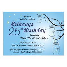 Mason Jar Birthday Invitation in Sky Baby Blue
