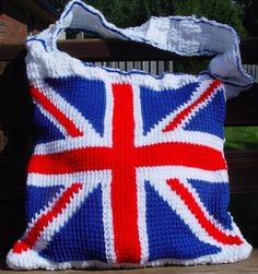 Crocheted Union Jack flag bag. Great Britain. England.